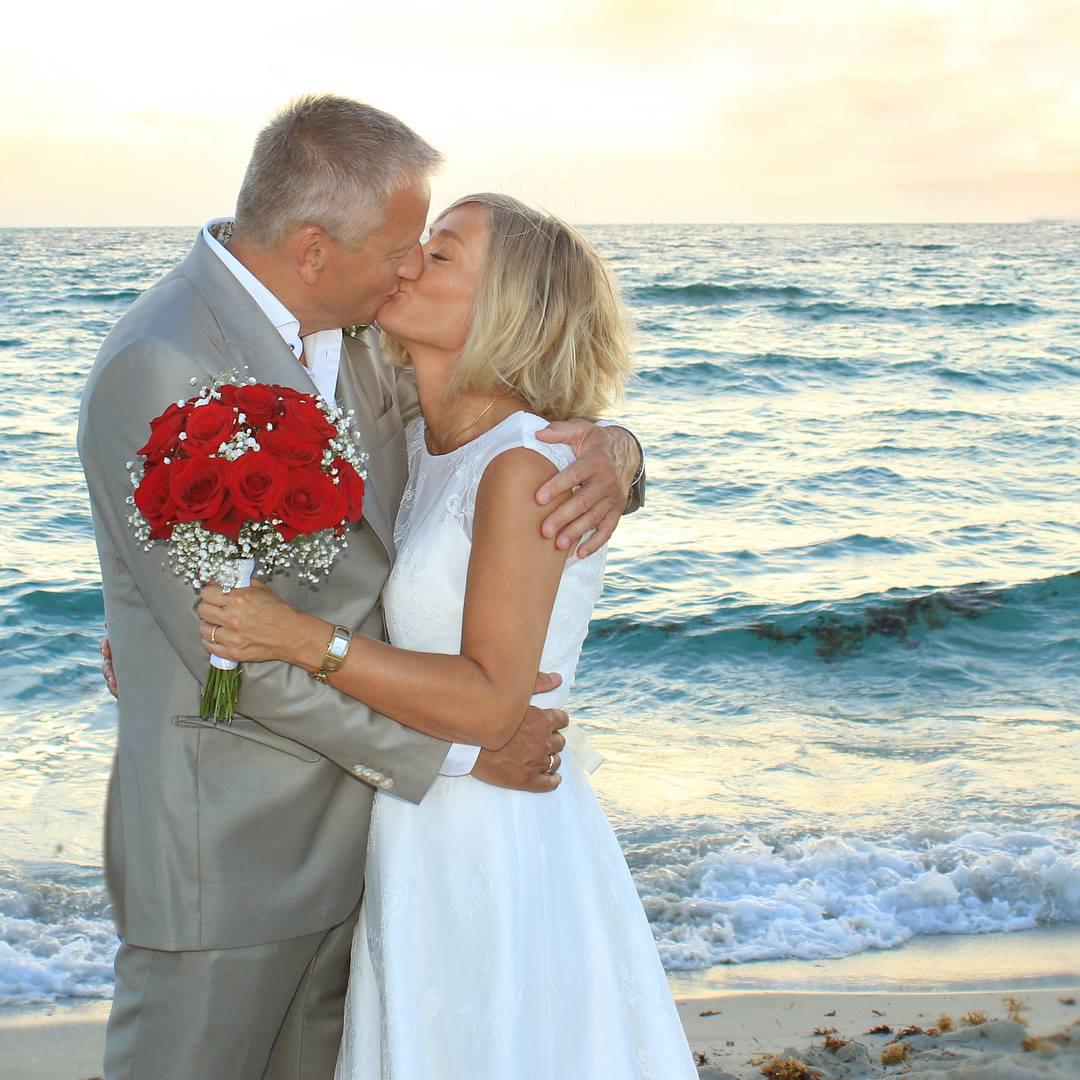 silver couple wedding at beach in miami