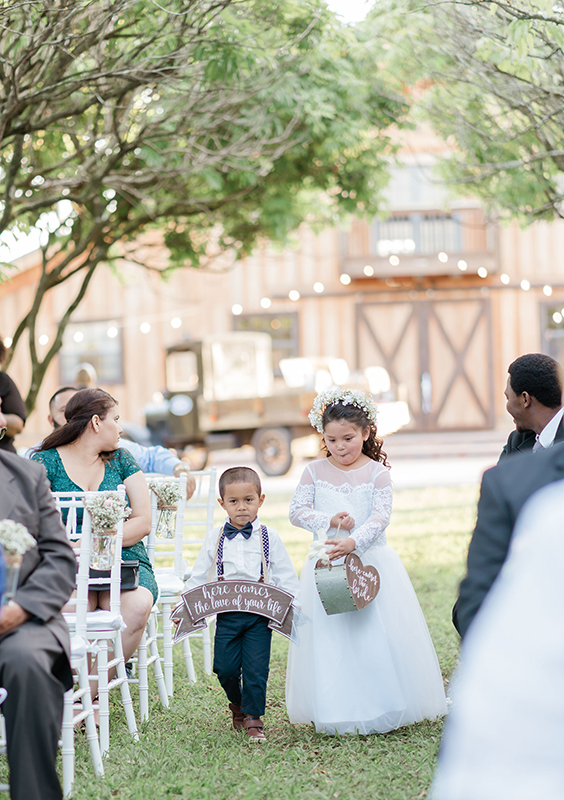 flower girl and pageboy wedding rustic miami