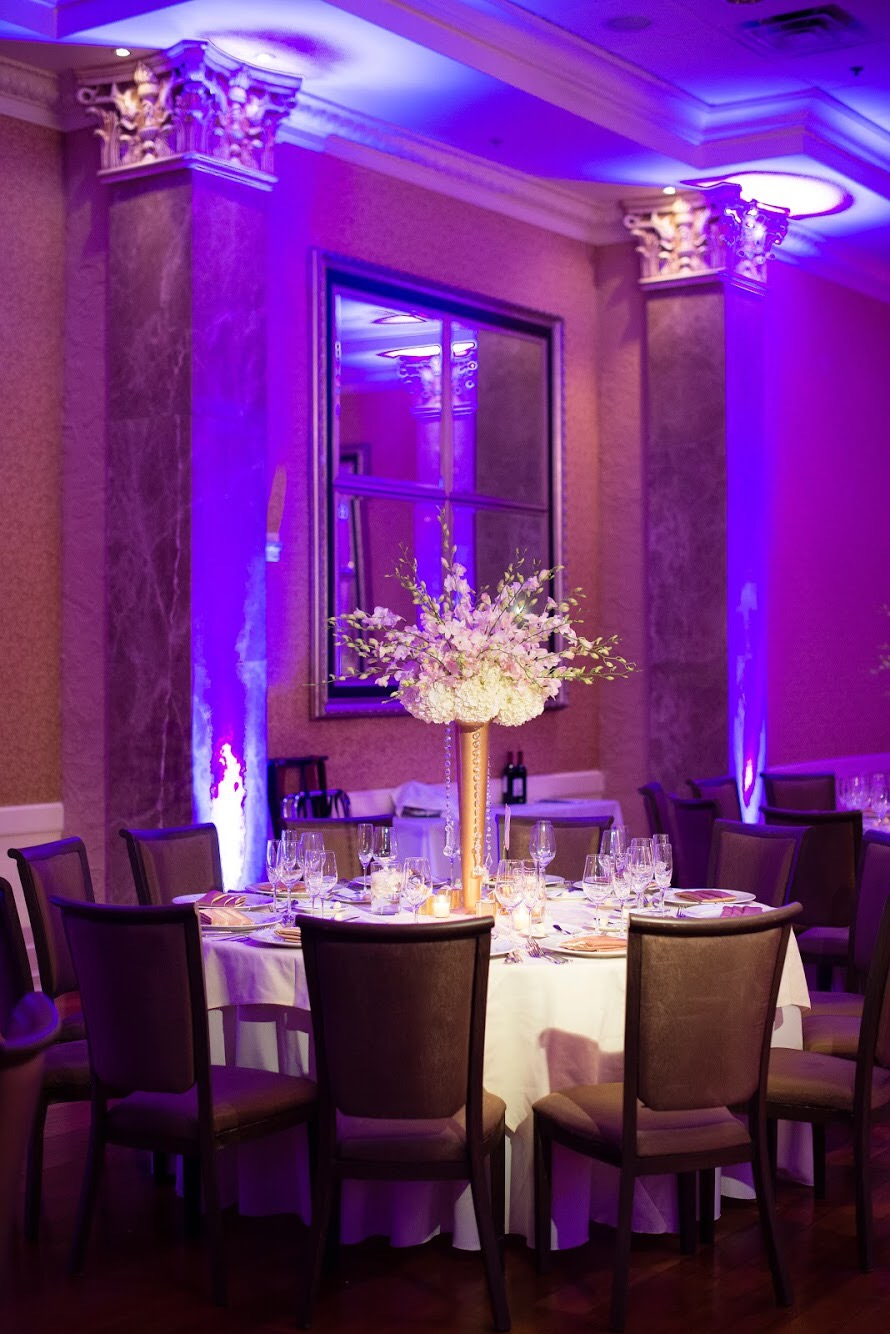 luxury wedding table set up at coral gables florida