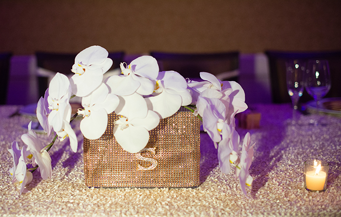 luxury wedding center table flowers at coral gables