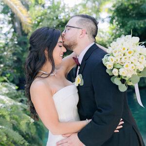 wedding couple kiss at homestead florida